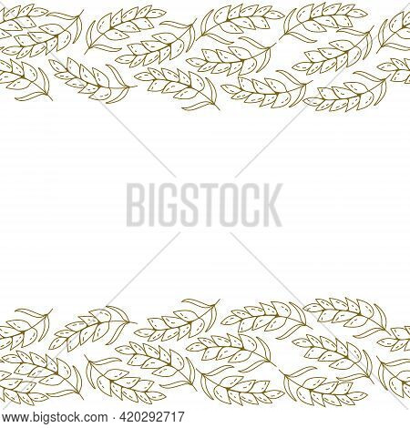 Decorative Border Of Brown Outline Spikelets, Frame In The Form Of Two Horizontal Stripes Of Grain V