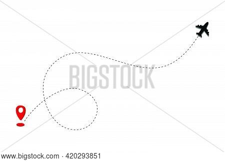 Airplane Line Path Icon With Start Point And Dash Line Trace. Vector Graphic Resources