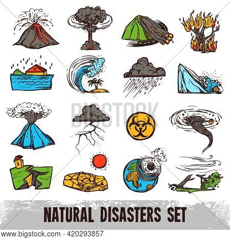 Natural Disasters Color Sketch Set With Hurricane Tornado And Tsunami Isolated Vector Illustration