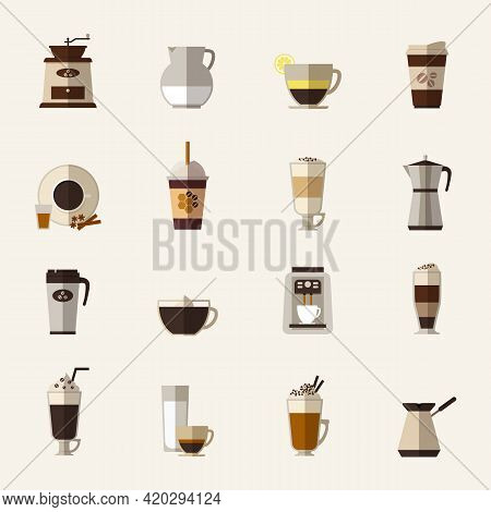 Coffee Flat Icons Set. Cup And Turk, Grinder And Maker, Drink And Latte, Takeaway And Mocha, Vector