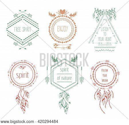 Boho Tribal Hipster Labels Set. Ornament Vintage Symbol Element, Decoration Drawing Collection, Vect