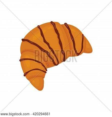 Croissant Poured With Chocolate. Vector Illustration Of Sweet Pastries Isolated On White Background.