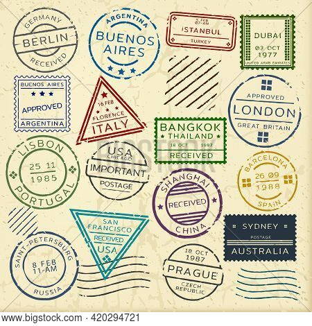 Colorful Vintage Postage Stamps Set From Different Countries Of Round Rectangular And Triangular Sha