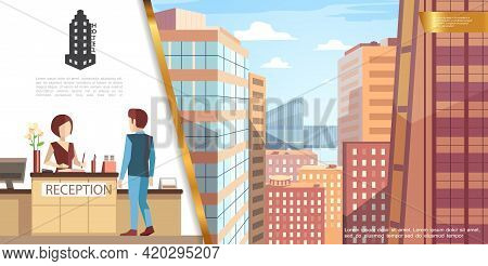 Colorful Hotel Service Concept With Guest Talking With Receptionist And Modern Cityscape View From H