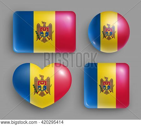 Glossy Buttons With Moldova Country Flags Set. European Country National Flag Shiny Badges Of Differ