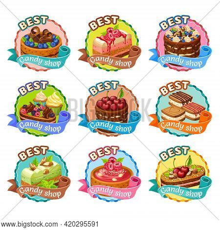 Colorful Candy Shop Stickers Set With Cakes Cupcakes Cookies With Chocolate Whipping Cream Berries N