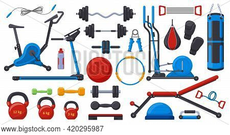 Gym Fitness Equipment. Sport Training Weights, Dumbbell, Barbell, Gym Ball, Treadmill And Exercise B