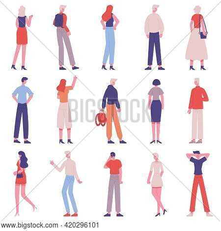 People Back View. Male And Female Characters From Back Side Standing Together Isolated Vector Illust