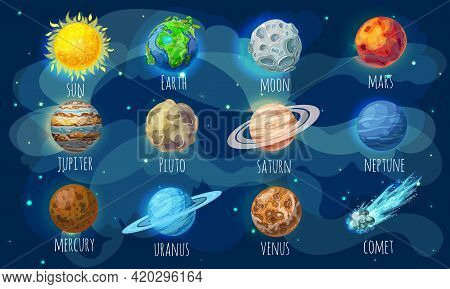 Colorful Space Elements Set With Sun Comet And Solar System Planets In Cartoon Style Isolated Vector