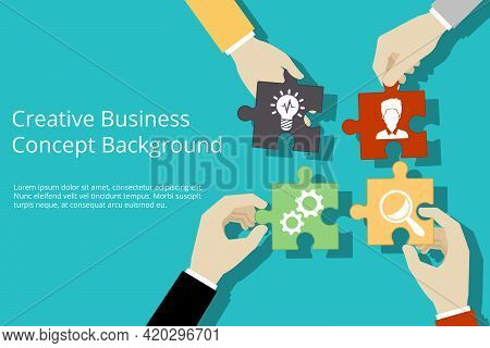 Creative Business Concept Background. Solution And Success, Strategy And Puzzle Design, Vector Illus