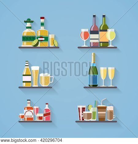 Booze Or Drinks Flat Icons On Tray At Bar. Beverage And Liquor, Design, Wine And Juice, Champagne Bo