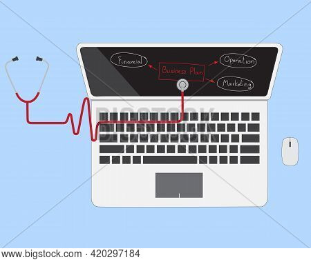 Concept Idea For Diagnose Business Planning Handwriting On Laptop With Stethoscope