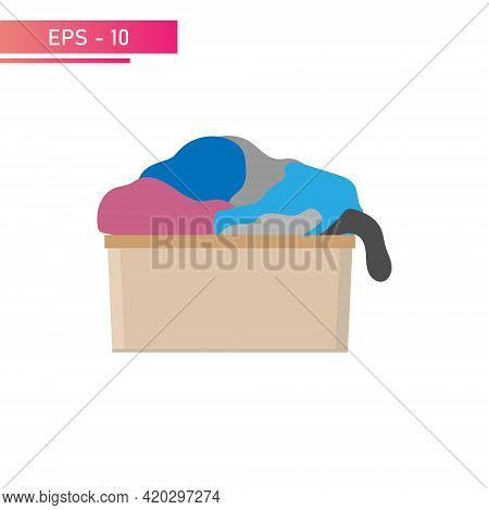 A Laundry Basket, Small And Full Of Laundry. Realistic Design. On A White Background. Flat Vector Il