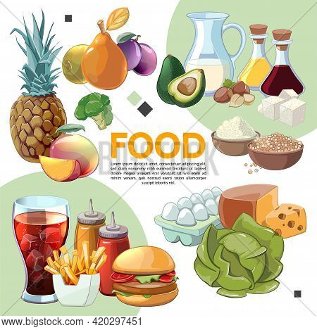 Colorful Cartoon Food Composition With Eggs Fruits Vegetables Milk Soy Sauce Olive Oil Cereals Chees