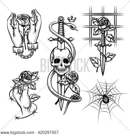 Criminal Tattoo. Rose In The Hands Of A Knife Behind Bars, Spider And Skull. Handcuffed And Cage, Wi