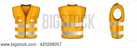 Orange Safety Vest With Reflective Stripes, Uniform For Construction Works, Drivers And Road Workers