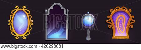 Magic Mirrors In Golden And Silver Frame. Vector Cartoon Set Of Fairytale Mirrors, Gui Elements For