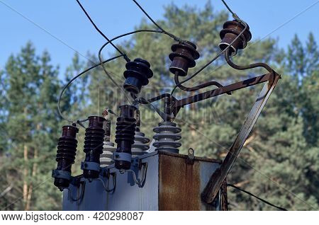 Insulators And Cables Which Are Part Of Transformers At Electric Power Substation.