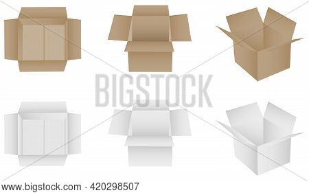 Box, Packing Box White And Brown. Vector, Cartoon Illustration. Vector.