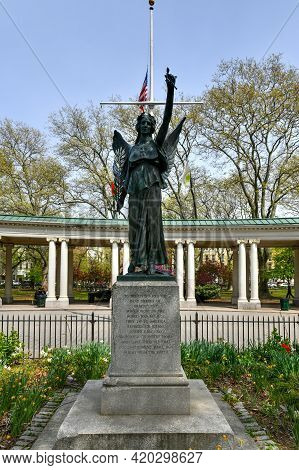 Brooklyn, New York - Apr 24, 2021: Wwi Bronze Victory Memorial And Shelter Pavilion At Monsignor Mcg