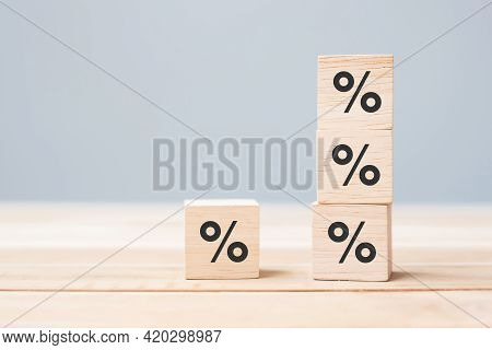 Wood Cube Block With Percentage Symbol Icon. Interest Rate,  Financial, Ranking And Mortgage Rates C