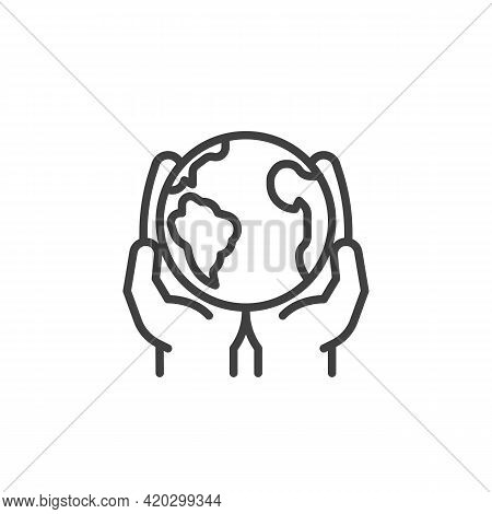 Save The Earth Planet Line Icon. Linear Style Sign For Mobile Concept And Web Design. Hands With Wor