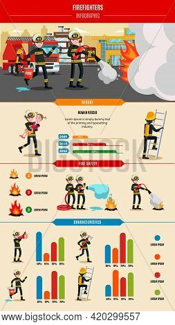Colorful Firefighting Infographic Concept With Professional Firefighters In Uniform Rescue Equipment