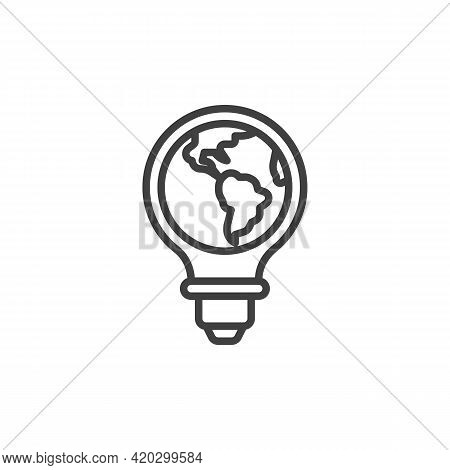 World Energy Conservation Line Icon. Linear Style Sign For Mobile Concept And Web Design. Globe Lamp