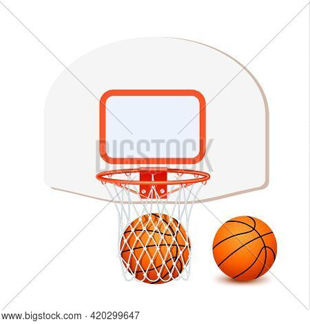 Colored Basketball Composition With Isolated Icon Set Basket And Orange Ball Inside Vector Illustrat