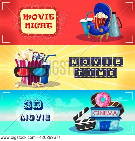 Colorful Cinematography Horizontal Banners With Drink Snacks Chair Megaphone Tickets 3d Glasses Clap