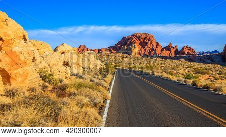 Scenic Drive Through Valley Of Fire State Park, Nevada.