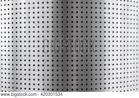 Stainless Steel Perforated Metal Roll. Perforated Metal Pattern. Background Texture Of Chromium Or A