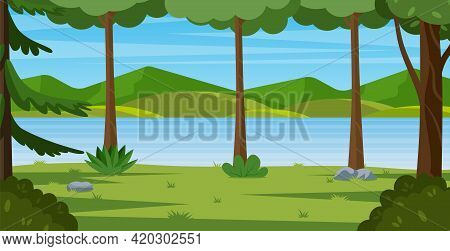 Cartoon Mountain Landscape With Summer Forest. Countryside Beautiful Nature With Green Trees, River