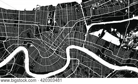 Black And White New Orleans City Area Vector Background Map, Streets And Water Cartography Illustrat