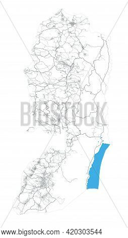 West Bank And Gaza Map. Detailed Map Of Administrative Area, Land Panorama. Royalty Free Vector Illu
