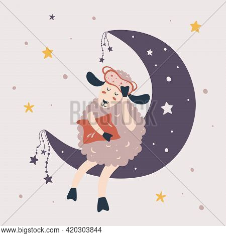 Cute Little Sheep Sleeping On The Moon. Sweet Dreams. Cute Sheep With Night Sky, Moon And Stars. Des