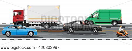 Collection Of Various Vehicles On Road. Sedan, Van, Truck And Motorbike. Car For Transportation, Car