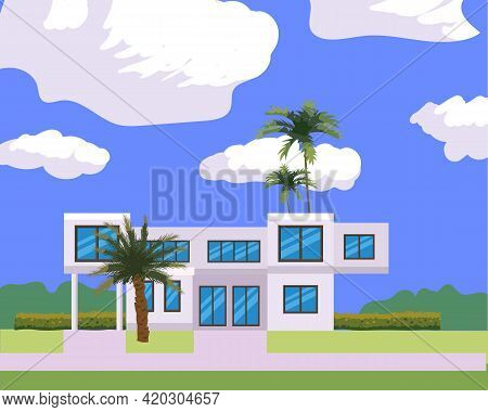 Residential Home Building In Landscape Tropic Trees, Palms. House Exterior Facades Front View Archit