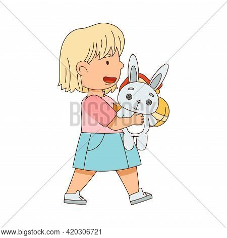 Happy Blond Girl Carrying Pile Of Toys Playing In The Nursery Vector Illustration
