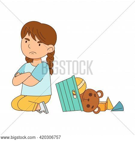 Grumpy Girl Sitting On The Floor With Toys And Folded Arms Grizzling Vector Illustration