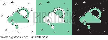 Set Cloud With Rain And Sun Icon Isolated On White And Green, Black Background. Rain Cloud Precipita