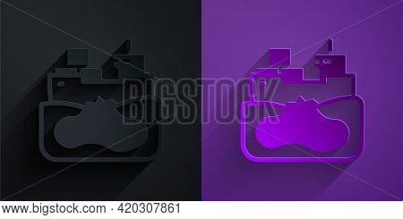 Paper Cut Wrecked Oil Tanker Ship Icon Isolated On Black On Purple Background. Oil Spill Accident. C