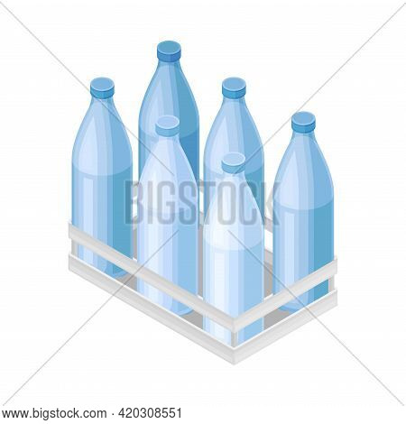 Water Poured In Plastic Bottles Rested In Crate For Storage And Distribution Isometric Vector Illust