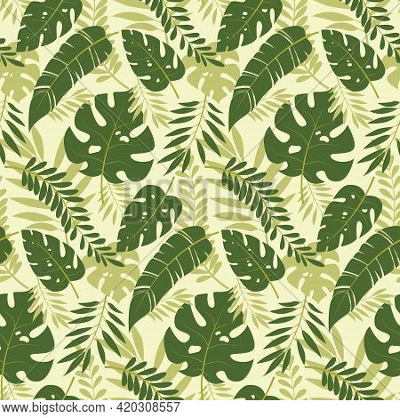 Seamless Vector Pattern Of Tropical Leaves.tropical Background With Exotic Palm Leaves. A Pattern Of