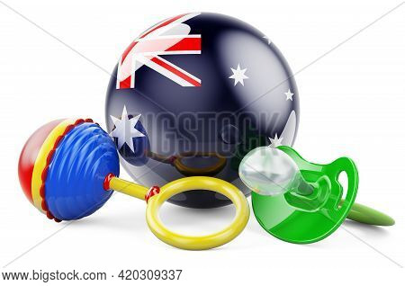 Birth Rate And Parenting In Australia Concept. Baby Pacifier And Baby Rattle With Australian Flag, 3