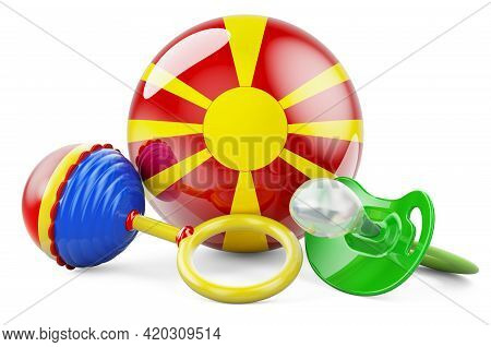 Birth Rate And Parenting In Macedonia Concept. Baby Pacifier And Baby Rattle With Macedonian Flag, 3