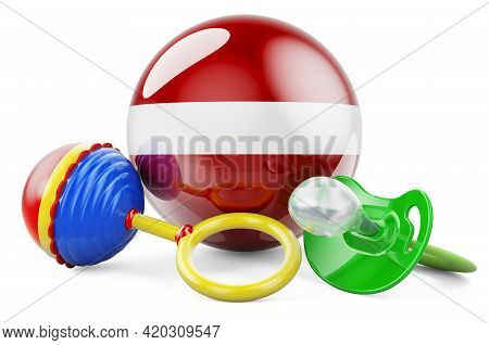 Birth Rate And Parenting In Latvia Concept. Baby Pacifier And Baby Rattle With Latvian Flag, 3d Rend