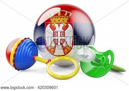 Birth Rate And Parenting In Serbia Concept. Baby Pacifier And Baby Rattle With Serbian Flag, 3d Rend