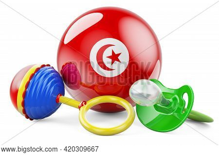 Birth Rate And Parenting In Tunisia Concept. Baby Pacifier And Baby Rattle With Tunisian Flag, 3d Re