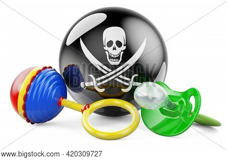 Piracy Flag With Pacifier And Baby Rattle. 3d Rendering Isolated On White Background
